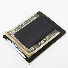 BLACK 100% LEATHER MEN MAGNETIC MONEY CLIP Credit Card Plain Simple Wallet Nice