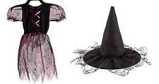 Girls Costume Black Pink Spider Web Acrylic Dress & Black Lace Hat Size 7/8 yr