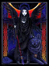 Gothic Angel Celestial Eclipse Blue Wolf Rayvnwolf Signed Myka Jelina Art Print