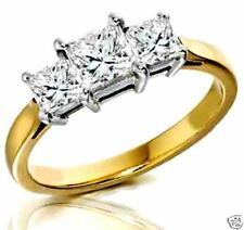 0.85CT  G 3 STONE PRINCESS CUT DIAMOND ENGAGEMENT RING 14K TWO TONE GOLD