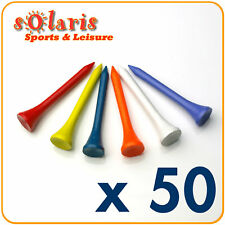 50 x Wooden Golf Tees 54mm (2 1/8 inches) Multi Colors