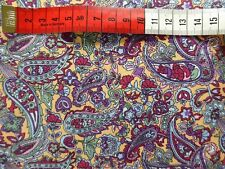 "Purple Tan Paisley Cotton Fabric Material 45"" Wide Crafts by Metre 60s"