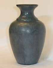 Decorative Metal Vase Blue Gray Green Patina Made in India  Hole in bottom.  New