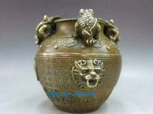 Old China Brass Golden Toad Bufonid Money Wealth Foo Dog Lion Head Vase Pot