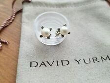 David Yurman Sterling Silver 925 9.5mm Pearl Diamond Earrings