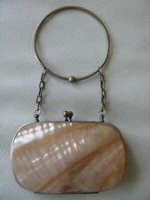 Antique Victorian Nice Interior Bracelet Handle Amber Sea Shell Purse 1800s