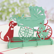 3D Pop Up Greeting Card Cute dog and stroller Children's Day gift happy Birthday