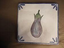Blue Antique Art Vintage Stoneware Egg Plant Tile Vegetable Painted Dutch ?
