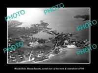 OLD LARGE HISTORIC PHOTO OF WOODS HOLE MASSACHUSETTS AERIAL VIEW OF TOWN c1940 2