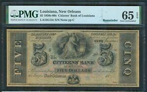 New Orleans, $5 Citizens' Bank, 1850's-60's, PMG Gem Unc. 65 EPQ