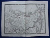Original antique map SIBERIA, EASTERN RUSSIA, ASIA, C.V. Monin, 1837