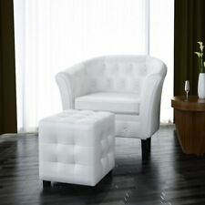 White Tufted Tub/Barrel Design Armchair Club Chair Accent w/ Ottoman Foot Stool
