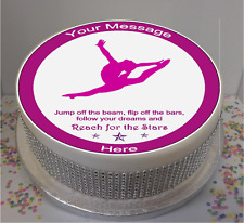"""Novelty Personalised Gymnast with Quote 7.5"""" Edible Icing Cake Topper birthday"""