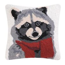 "Welcome Friends Hooked Raccoon Toss Pillow 18"" Square Bear with Red Scarf C & F"