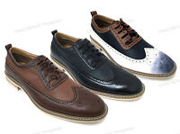 Mens Dress Shoes Wing Tip Lace Up Oxfords Leather Lined Casual Italy Style Sizes