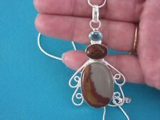 Silver Overlay Pendant With Natural Noreena, Picture Jasper, And Topaz  (nk1707)