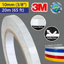 """3M SILVER WHITE Reflective Conspicuity PinStriping Vinyl Tape 10mm 3/8"""" 20m 65ft"""