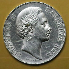 1865 German States Bavaria Silver 1 Thaler. AU-UNC details, cleaned. - 575