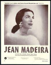1959 Jean Madeira photo opera recital tour booking trade print ad