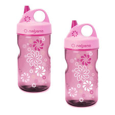 Nalgene Grip-n-Gulp Everyday Kids 12oz Water Bottle Pink Wheels - 2 Pack