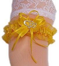 XXL Strumpfband Braut gelb mit Schleife Herzchen Silbernaht bis 80 cm Neu EU