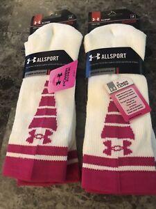 Under Armour UA Allsport Crew SOCKS white Power in Pink heatgear medium L Large