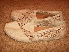 Toms Beige Moroccan Crochet Slip On Shoes Womens Size 7