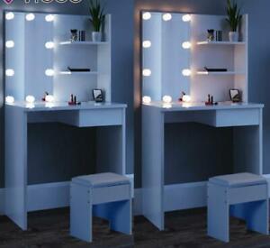 Lighted Dressing Table w/ Mirror Stool 10 LEDs White Makeup Vanity Dresser Set