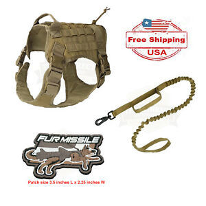 K9 Tactical-style Dog Harness and Leash, Coyote Tan (Optional Fur Missile patch)