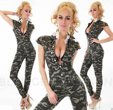 Sexy Womens Camouflage Skinny Jumpsuit Ladies Overall Army Playsuit Size 14 NEW