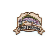 "Fishing - ""Gone Fishing"" - Embroidered On Twill 2 1/4""W  Iron On Patch  - B"