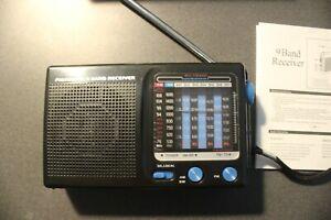 9 Band Battery Radio as shown. NIB Black. FREE SHIPPING.