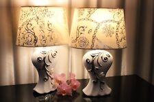 2 Lampen weiß silber Nachttischlampe Leuchte Keramik Tischlampe Tischleuchte  35