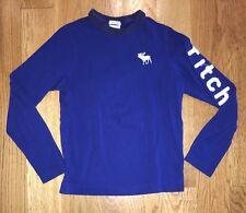 ABERCROMBIE & FITCH KIDS Boys Long Sleeve Solid Blue Muscle Shirt M Medium EUC