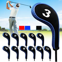 12Pcs Number Rubber Golf Clubs Iron Head Covers Zipper Long Neck Headcovers