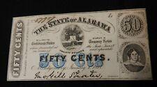 1863 STATE OF ALABAMA FRACTIONAL CURRENCY NOTE - CRISP CU / UNC - MINOR TEAR