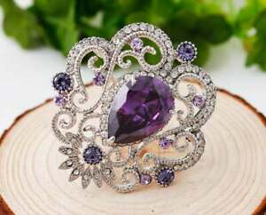Purple Amethyst & Diamond 6.90Ct Brooch Pin For Women's whit 18K White Gold Over