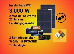 Inselanlage Solarstrom 3.000W mit Batteriespeicher 24V Photovoltaik