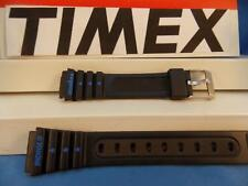 Timex Watch Band IronMan Ladies Black Rubber w/blue Graphics 15mm Strap