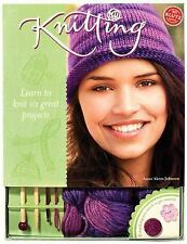 KLUTZ Knitting Kit Learn to Knit 6 Great Projects: Johnson NEW Sealed Crafts 10+