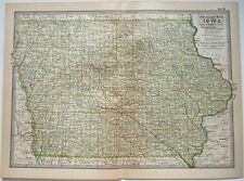 Original 1902 Map of Iowa by The Century Company. Antique
