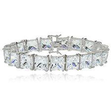 Sterling Silver Princess-cut Cubic Zirconia 9x9mm Tennis Bracelet