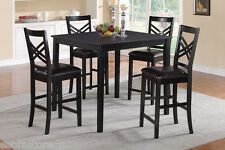 5 Pc Dining Set Counter Height Table Black High Chairs Faux Leather Dining Room
