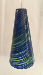 Taza Pendant Light Mini Satin Nickel Blue-Green Tech Lightin