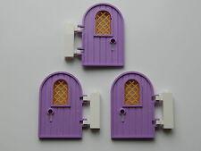 LEGO Doors (pack of 3) LAVENDER gold castle house modular keyhole elves friends