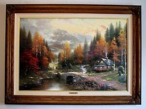 """Thomas Kinkade """"Valley Of Peace"""" S/N Framed Canvas W/COA 24 X 36"""