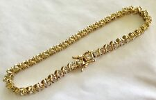 Vintage Sterling Silver 925 Gold Plated CZ, Swarovski dance round Bracelet. #B6