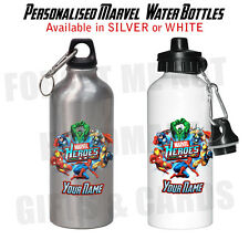 Superhero Marvel Hulk Spiderman Wolverine personalised water bottle