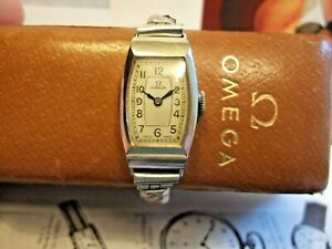 RARE Superb Women's Vintage Omega ART DECO watch with Omega Pigskin 'coffin' Box