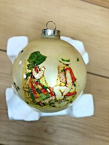 VINTAGE GLASS Christmas Ornament Holly Hobbie Old Fashioned Fun Ornament